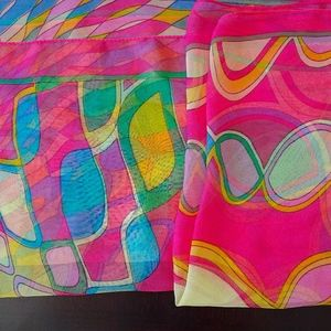 Vintage Bright Colorful Hot Pink Psychedelic Scarf